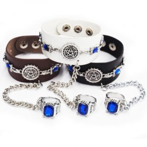 1 Pc Cartoon Black Butler Leather Wrap Chain Bracelet with Blue Gem Ring
