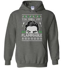 Schitt's Creek You Smell Very Flammable Ugly Christmas Hoodie For adult