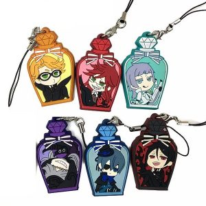 Black Butler Japanese anime rubber mobile phone charm keychain