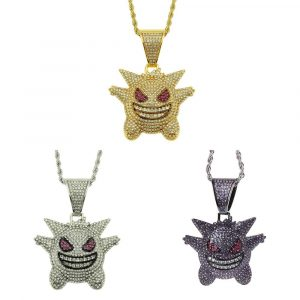 Jewelry Rock Punk Iced Out Shiny CZ Gengar Vampire Bull Pendant Necklace