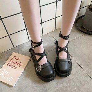 Square Heel Waterproof Cross Bandage Woman Cosplay Mary Jane Shoes