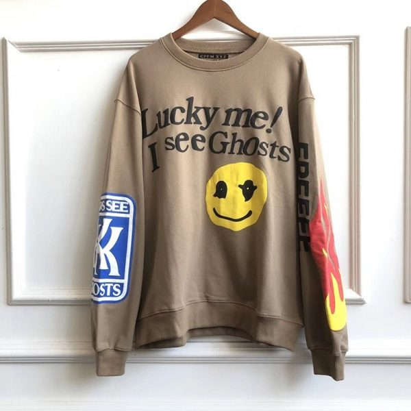 Lucky Me I See Ghosts Print Kanye Hip Hop Hoodies Men and Women