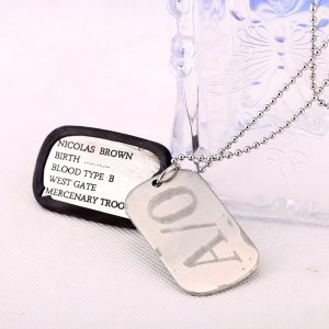 Brown Dog Tags Pendant Necklace Cosplay Fans