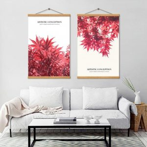Red Maple Leaves Autumn Poster Print Modern Bedroom Decoration