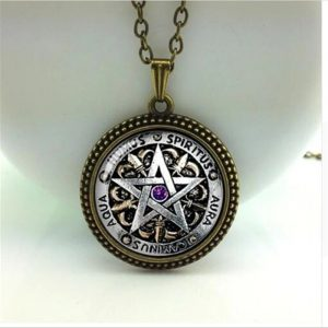 Wiccan Necklace black magick Pagan Pentagram Jewelry